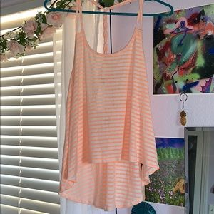 Pastel orange stripped open back tank